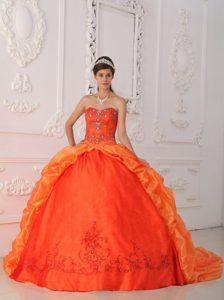 Orange Red Appliqued Ball Gown Sweet 15 Dresses in Avellaneda