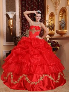 Fabulous Red Pick Ups Sweet Sixteen Dresses with Appliques