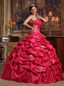 Floor-length Coral Red Appliqued Dress for Sweet 16 online Store