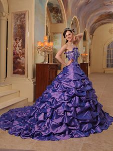 Sophisticated Court Train Taffeta Pick Ups Purple Quince Dress