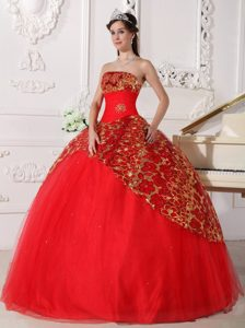 Shimmery Tulle Paillette Red Sweet 15 Dresses with Floral Patterns