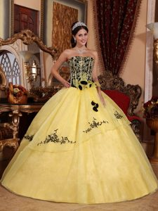 Yellow and Black Ball Gown Flowers Quinces Dresses in Mendoza