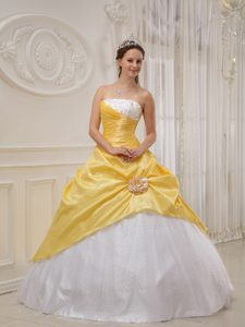 Yellow and White Cheap Beaded Sweet 16 Dresses in Cordoba