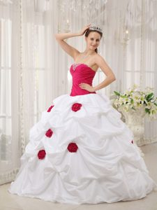 Hot Pink and White Pick Ups Quinceanera Dresses with Flowers
