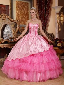 Corset Back Embroidery Rose Pink Quinces Dresses in La Plata
