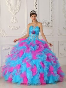 Multi-Color Strapless Ruffled Dress for Sweet 15 in Cordoba