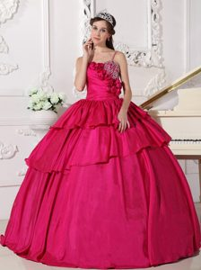 Hot Pink Flowers Spaghetti Straps Quinceanera Dress under 200