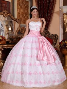 Light Pink Spaghetti Straps Embroidery Dresses for Sweet 16
