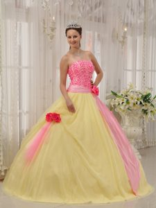 Pretty Pink and Yellow Sweet 16 Dress with Handmade Flowers