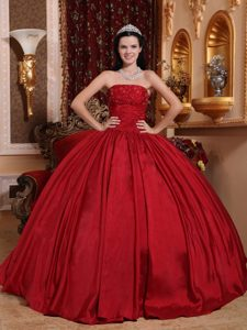 Cheap Strapless Ball Gown Beaded Red Quinceanera Party Dress