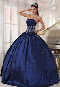 Navy Blue Beaded Taffeta Embroidery Sweet 15 Dresses in Belfast