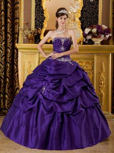 Purple Beaded Pick Ups Taffeta Appliques Quince Dresses in Bristol