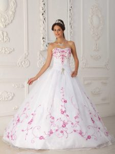 White Satin and Organza Embroidery Quinceanera Dress in Antrim