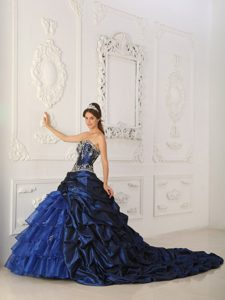 Blue Chapel Train Taffeta and Organza Sweet 16 Dresses in Paris
