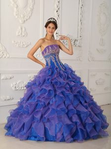 Blue Beaded Ruffled Organza Appliques Quinceanera Dress in Auckland
