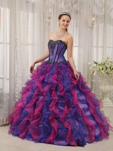Multi-color Ruffled Organza Appliques Sweet 16 Dresses in Belfast