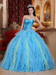 Aqua Blue Beaded Tulle Ruffles Quinceanera Dresses in Newtownabbey