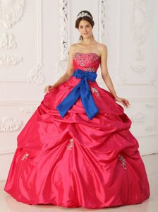 Red Beaded Taffeta Dress For Quinceanera with Blue Sash in Aachen
