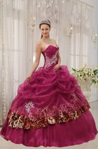 Burgundy Organza and Leopard Appliques Sweet 15 Dresses in Clifton