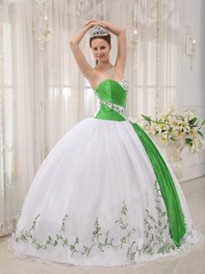 White and Green Organza Embroidery Quinceanera Dress in Antrim