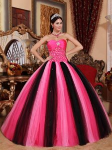Hot Pink and Black Beaded Tulle Quinceanera Dresses in Newtownabbey