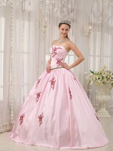 Pink Strapless Taffeta Appliques Quinceaneras Dress in Farnborough