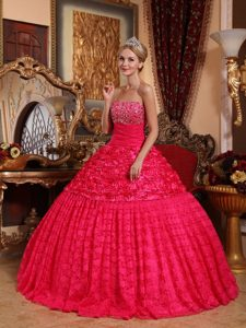 Red Beaded Dress For Quinceanera with Rolling Flowers in Aachen