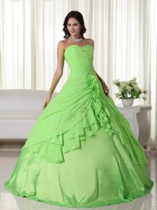 Spring Green Sweetheart Ruches Quinceanera Dresses in Antrim