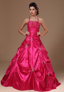 Hot Pink Halter Taffeta Pick Ups Sweet 16 Dresses in Belfast