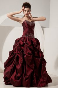 Burgundy Strapless Beaded Taffeta Sweet 15 Dresses in Antrim