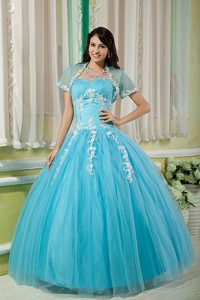 Aqua Blue Tulle Quinceanera Dresses with Appliques in Clifton
