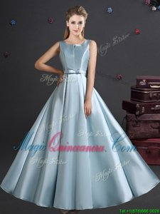 Affordable Straps Straps Elastic Woven Satin Sleeveless Floor Length Quinceanera Court of Honor Dress and Bowknot