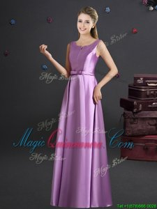 Fitting Lilac Straps Neckline Bowknot Quinceanera Court Dresses Sleeveless Zipper