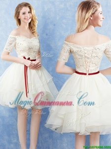 Custom Designed Organza Off The Shoulder Short Sleeves Lace Up Lace and Ruffles and Belt Court Dresses for Sweet 16 in Champagne