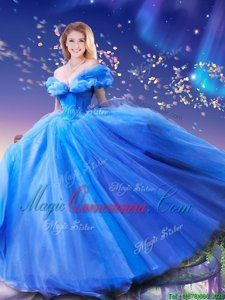 Attractive Cinderella Off the Shoulder Sleeveless Floor Length Beading and Bowknot Lace Up Quinceanera Dress with Royal Blue