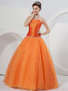 Simple Orange Strapless Ball Gown Rhinestones Sweet 16 Dresses
