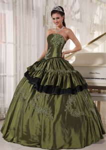 inexpensive Olive Green Ruffled Appliqued Quinceanera Dresses