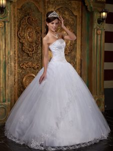 Lovely Lace Hem Decorate Strapless Dresses for a Quinceanera in White