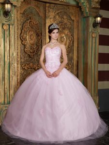 Trendy Tulle Sweetheart Quinceanera Party Dress Appliques Baby Pink