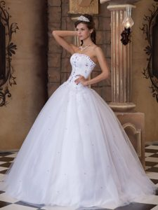 Hot Sale Satin and Tulle Beaded Vestidos De Quinceanera with Appliques