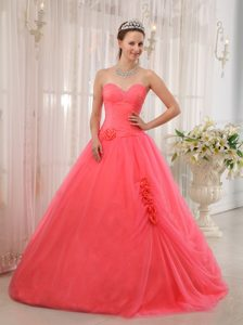 Best Sweetheart Beading Dresses for a Quinceanera Tulle in Watermelon