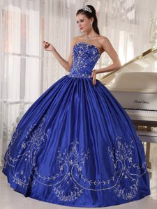 Dazzling Blue Strapless Satin Dress for a Quinceanera with Embroidery