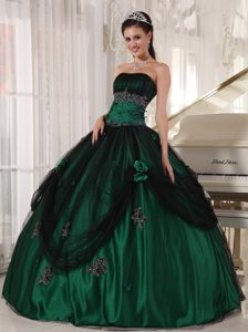 Wonderful Green Tulle and Taffeta Quinceanera Party Dresses Appliques