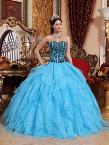 Newest Aqua Blue Sweetheart Ruffled Trajes De Quinceaneras in Organza