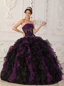 Organza Ruffled Layers Quinceanera Dresses Strapless with Embroidery