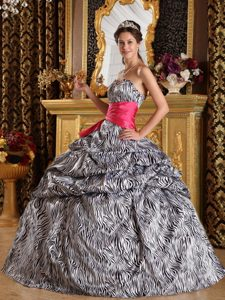 Luxurious Sweetheart Zebra Printed Quinceanera Party Dress with Sash