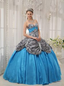 Wonderful Blue Ball Gown Zebra Sweetheart Dresses for a Quinceanera