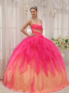 Romantic Hot Pink Ball Gown Beading Quinceanera Dresses in Organza