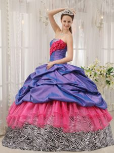 Newest Ruffles and Pick-ups Dresses for a Quinceanera Zebra Printing