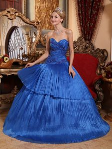 Noble Royal Blue Pleat Quinceanera Dresses with Appliques in Phoenix